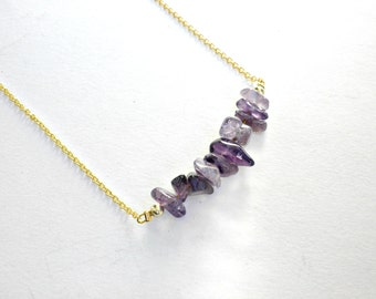 Amethyst bar necklace, Gemstone purple necklace, February birthstone, Amethyst gemstone, Gold amethyst purple necklace, Violet necklace,