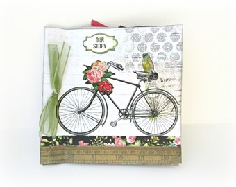 Romantic bicycle mini album, Premade photo mini album, Square 6x6 inches 15x15 cm, Memories photo book, Bicycle mini album, Mothers day gift