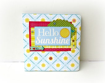 Summer mini album, Vacation memories book, Yellow Square book 6x6, Premade pages, Memories album, Scrapbooking photo album, Gift for her