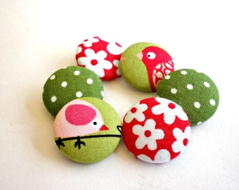 Fabric covered buttons- Bird buttons- Sewing buttons- Size 36 (22mm -7/8inch) -Multicolor buttons-Red floral buttons- Green Polka dots