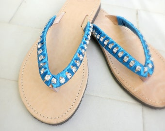 Greek leather sandals - Bridal shoes - Blue satin and rhinestone flip flops -Wedding flip flops -Summer sandals-Decorated sandals
