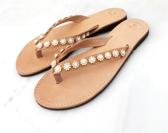 Wedding sandals, Bridal luxury sandals, Greek leather flip flops sandals, Decorated sandals with Rhinestones trim, Beach wedding party shoes