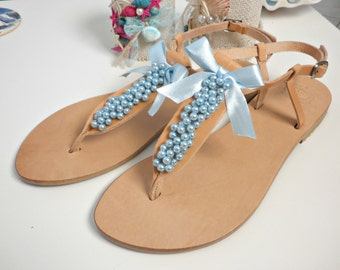Wedding sandals -Pearls leather sandals-Blue pearls sandals-Bridesmaids flats -Beach wear- Greek leather sandals Blue beaded leather sandals