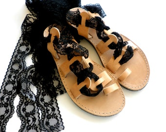 Black lace up Greek leather sandals, Toe ring gladiator sandals,Wedding flats,Beach wear,Flat wedding sandals,Summer shoes