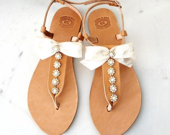 Wedding leather sandals, Bridal sandals, Lace bow sandals, Greek leather sandals decorated with rhinestones trim, Beach wedding sandals