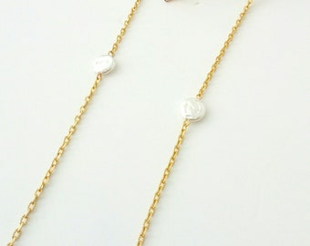 Sunglasses gold chain Freshwater pearl sunglasses gold chain Accessories for sunglasses Pearl eyeglass chain necklace Laces for sunglasses