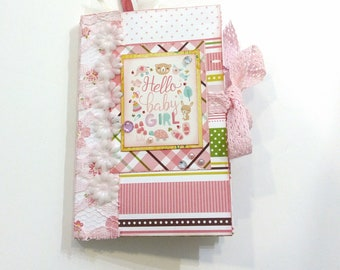 Girl mini album, Baby mini album, Scarpbook album, Pink photo book, Premade album, Baby shower gift, Newborn mini album, Memory photo book