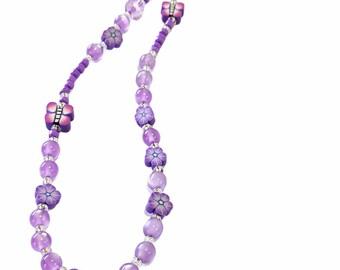Purple phone strap, Beaded phone accessory, Phone beaded charm, 90's phone charm, Butterfly purple phone charm