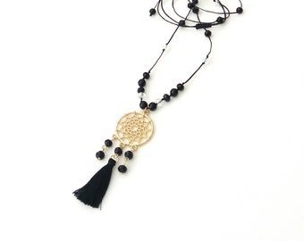 Long tassel necklace with dreamcather, Bobemian necklace, Black tassel long necklace, Gift for her