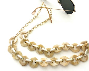Sunglasses chain, Acrylic tortoiseshell chain, Beige sunglasses chain, Laces for sunglasses, Glasses holder, Eyeglasses gold chain necklace