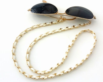 Sunglasses cold chain  Sunglasses strap White suede cord gold chain Sunglasses necklace Eyeglass fashion trend chain Birthday gift
