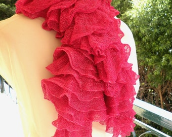 Pink frilly scarf,Summer scarf ,Pink ruffled scarf , Neckwarmer, Fuchsia scarf,Knitted pink scarf with ruffles