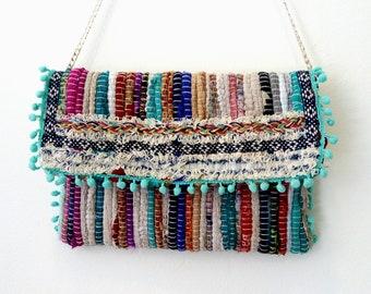 Τσάντα κουρελού σε μπλε αποχρώσεις / handmade bohemian bag in blue shades