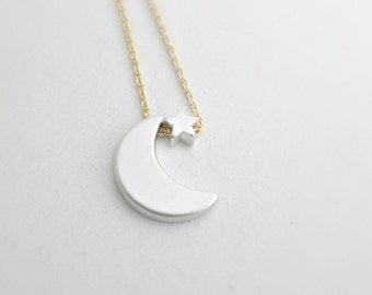 Crescent moon and mini silver star necklace -Silver moon silver star necklace -Star necklace -Gift for her -Anniversary gift -