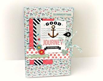 Travel book, Mini album, Premade pages, Scrapbook photo album, Blue album, Memories book, Sea adventure, Good journey album, Ready for ship