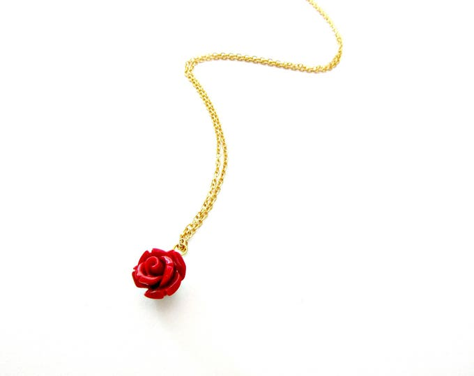 Featured listing image: Κολιέ με επίχρυση αλυσίδα και κόκκινο /Red rose necklace