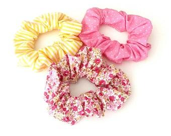 Pink polka dots scrunchy, Retro floral scruncy, Yellow stripes scrunchy, Handmade cotton scrunchies, Set of 3 scrunchies, Gift for her