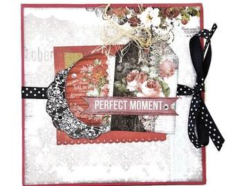 Romantic accordion mini album, Premade album, Handmade mini album, Photo album, Square mini album, Scrapbooking 6X6 album, Mothers day gift