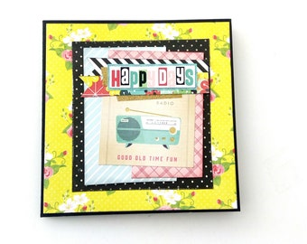 Accordion Happy days mini album, Retro 50's photo book, Premade album, Yellow photo album, Memories album, Square 6x6, Ready to ship