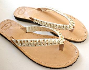 Wedding sandals with gold crystal rhinestone ivory satin ribbon- Greek leather flip flops-Summer sandals-Gold rhinestone decorated sandals-