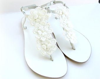 Wedding white sandals - Greek leather - White sandals decorated with flowers - White flats- Bridal party shoes - Beach wedding