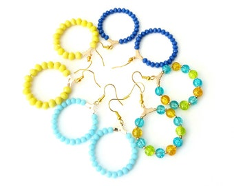 Gold hoop earrings, Beaded hoop earrings, Colorful earrings, Blue hoop earrings, Yellow hoop earrings, Summer beaded earrings, Gift for her