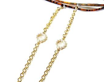 Circle Pearl eyeglasses chain, Sunglasses gold chain, Eyeglasses necklace, Gold sunglasses chain, Sunglasses holder, Reading glasses holder