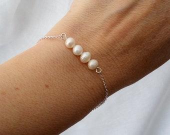 Bραχιόλι με μαργαριτάρια και αλυσίδα / Freshwater pearl bar bracelet