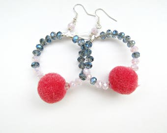 Pompom earrings / Hot pink pompom earrings / Hoop earrings / Boho blue and pink earrings / Fun earrings / Dangle earrings / Gift for her