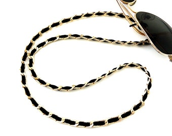 Sunglasses cold chain with black cord Eyeglass chain Black and gold glasses necklace Accessories for glasses Mother's day gift