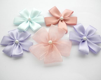Fabric flowers- Ribbons flowers - Satin flowers - Pale colors satin flowers -Organza flower-Craft supplies- Lilac,vintage pink,light blue