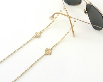 Sunglasses chain, Eyeglasses necklace, Laces for Sunglasses, Gold sunglasses chain, Sunglasses holder, Gold eyeglass necklace, Gift for her