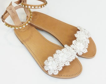 Bridal sandals, Wedding sandals, White lace flowers, Greek leather sandals, Beach wedding party shoes, Summer shoes, Natural leather sandals