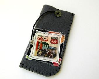 Grey felt case / Vintage image eyeglass case / Retro car image sleeve / Felt eyeglass case / Unisex gift / Gift for dad