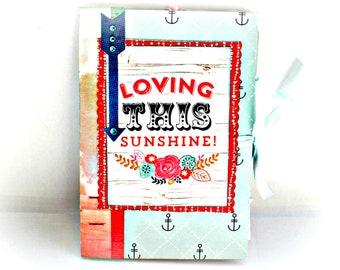 Travel Summer mini book, Nautical album, Vacation memories album, Handmade mini album, Photo book, Summer memories, Blue sea photo album