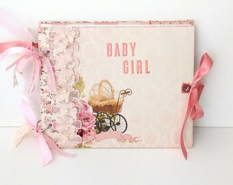 Baby girl first year photo album, Baby memory book, Scrapbook girl album, Baby shower gift Girl photo album Newborn baby girl Photo book