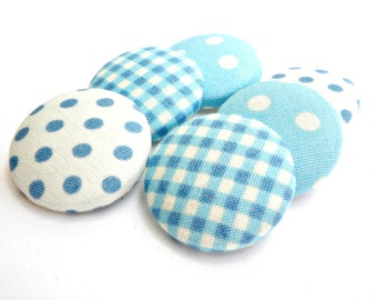 Covered fabric buttons - Baby blue fabric buttons - Sewing buttons- Size 36 / 22mm -Polka dots fabric buttons - Gingham fabric buttons