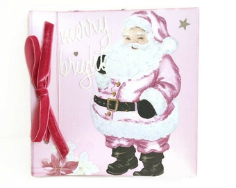 Pink Christmas mini album, Christmas memories album, Scrapbook 6x6 album, Pink mini album, Girly mini album, Christmas gift, Premade album