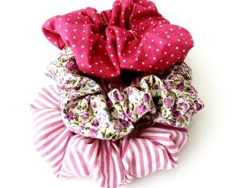 Handmade scrunchies, Σετ 3 υφασμάτινα λαστιχάκια για τα μαλλιά