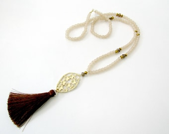 Long tassel necklace, Brown necklace, Boho tassel necklace, Beige beaded necklace, Long beaded necklac with floral pendant, Gift for her