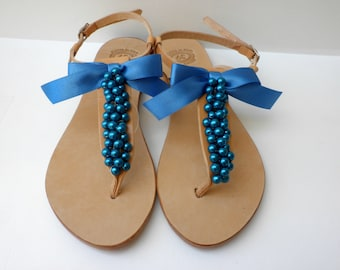Wedding blue pearls sandals ,Something blue, Greek leather sandals, Bridal party shoes, Beach wedding, Bridemaids sandals, Blue pearls flats