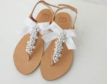 Pearl sandals, Wedding sandals, Bridal sandals, Greek leather sandals, Decorated sandals, White pearls and lace bow, Beach wedding flats