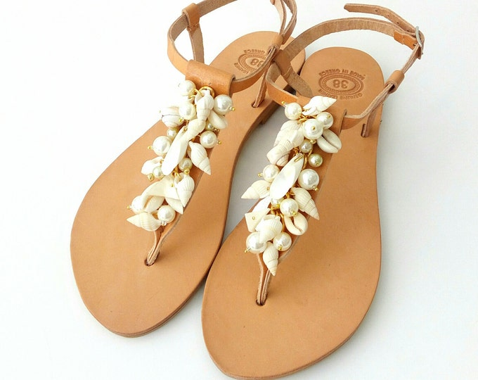 Featured listing image: Beach wedding sandals, Sea shell pearls sandals, Cowrie sandals, Bridal flat sandals  Beach party shoes, Bridal party flats, Summer shoes