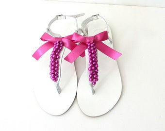 White sandals decorated with Fuchsia pearls and bow Wedding pearl sandals Bridal hot pink pearl flats Strappy leather sandals