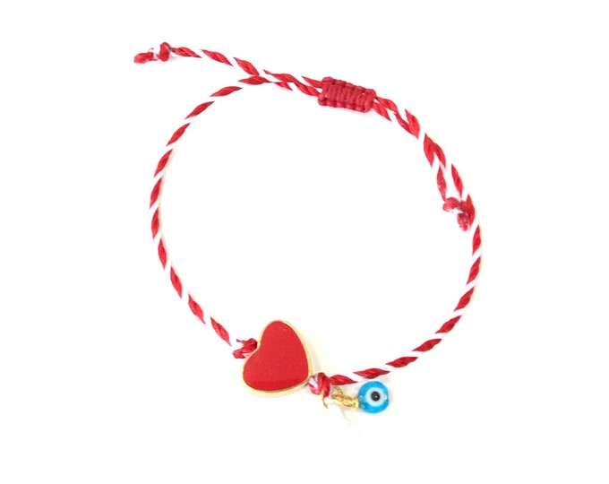 Featured listing image: Red and white string with red enamel heart and evil eye bracelet, Red heart March bracelet, Spring adjustable bracelet, Greek Martis