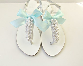 White sandals, Wedding leather sandals, White pearls with teal bow, Bridal pearls sandals, Greek summer sandals, Bridesmaid flats,