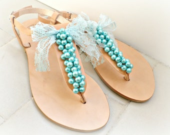Greek leather sandals- Wedding sandals-Leather sandals decorated with teal pearls and lace bow -Turquoise women flats- Bridesmaid sandals