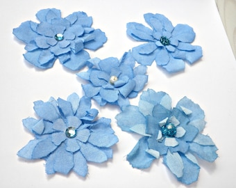 Fabric flowers,A set of 5 Blue flowers, Shades of blue, Scrabooking embellishment, Blue fabric flowers with beads, Tattered blue flowers