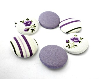 Sewing fabric buttons Covered fabric buttons -Purple buttons -Size 28mm , Purple stripes buttons - Patterned fabric sewing buttons