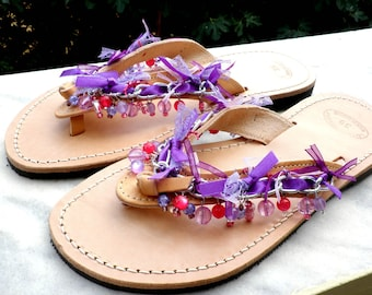 Greek leather sandals decorated with purple pink beads and chain/ Beach party shoes/  Fuchia purple summer flats/ Beach wear/ Summer sandals